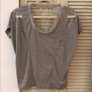 Zara Grey T-Shirt with Lace Detail